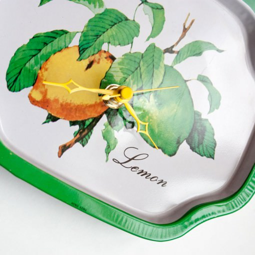 Lemon metal tray clock angle