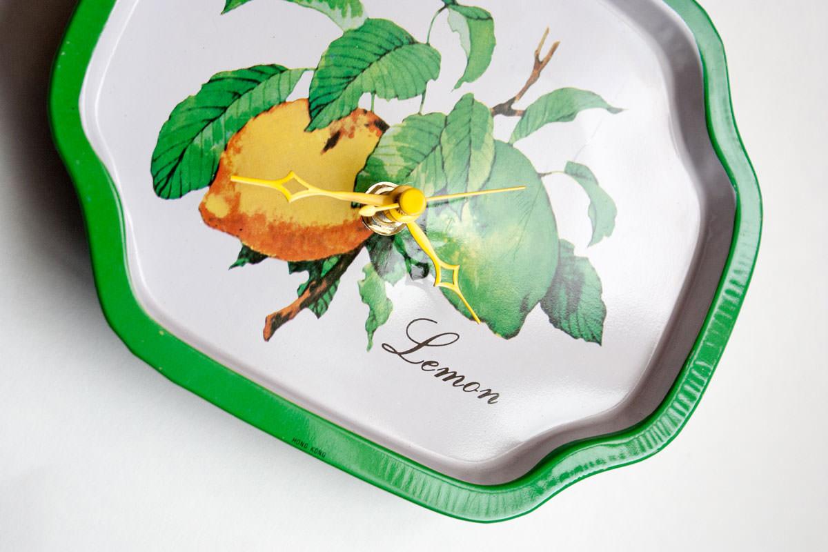 Lemon metal tray clock angle