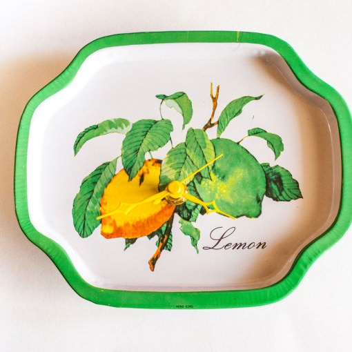 Lemon metal tray clock top