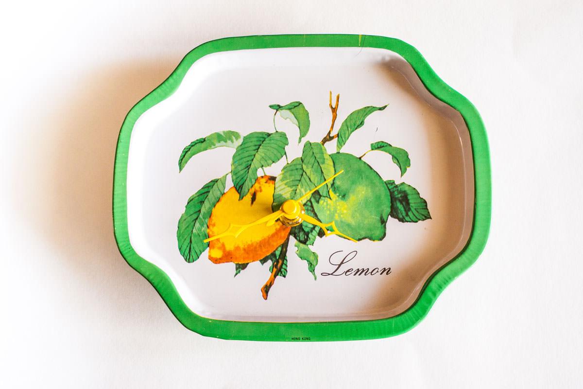 Lemon metal tray clock top