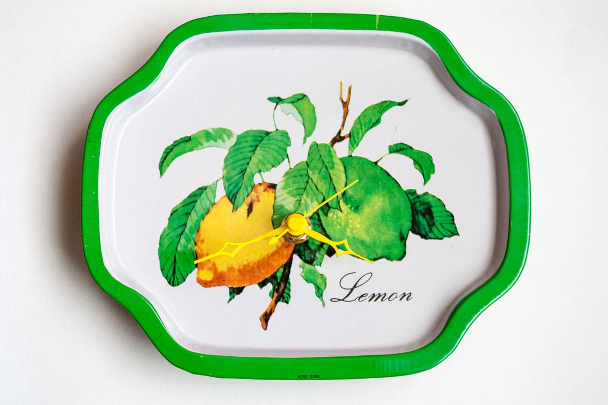 Lemon metal tray clock