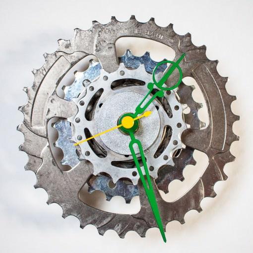 Bike Sprocket Clock with Green Hands