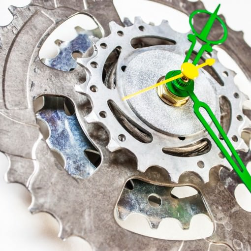 Bike Sprocket Clock with Green Hands angle