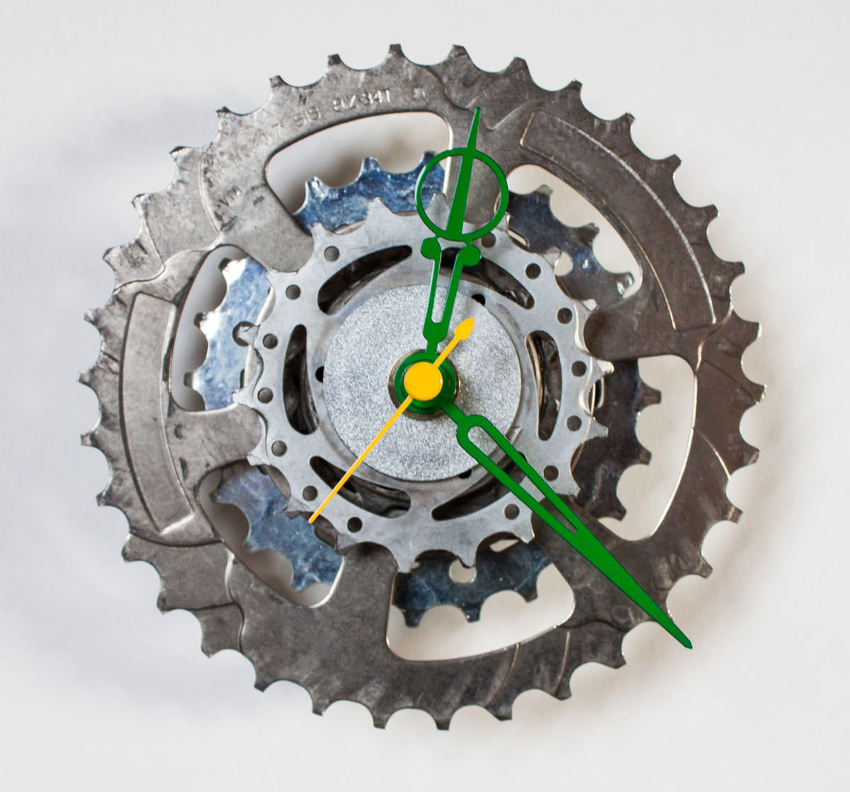 Bike Sprocket Clock with Green Hands 2
