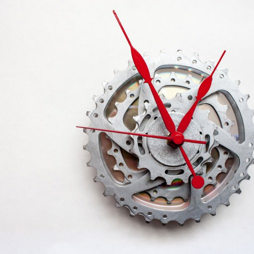 Bike Sprocket Clock with Red Hands