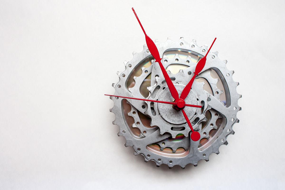 Bike Sprocket Clock with Red Hands
