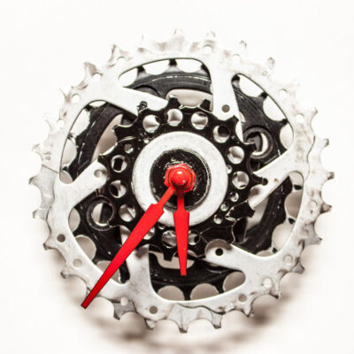 Black and Silver Bike Sprocket Clock