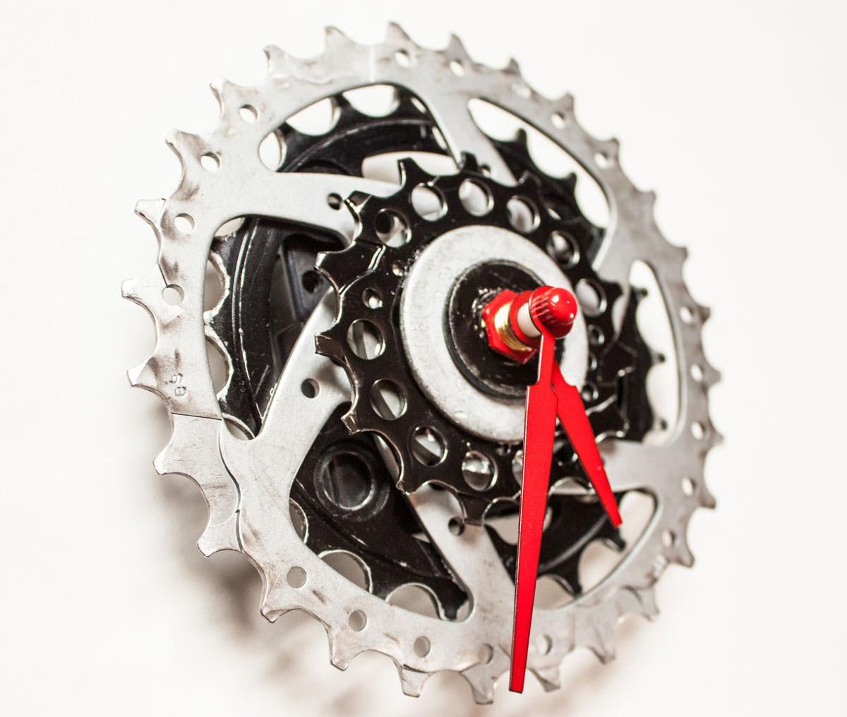 Black and Silver Bike Sprocket Clock angle