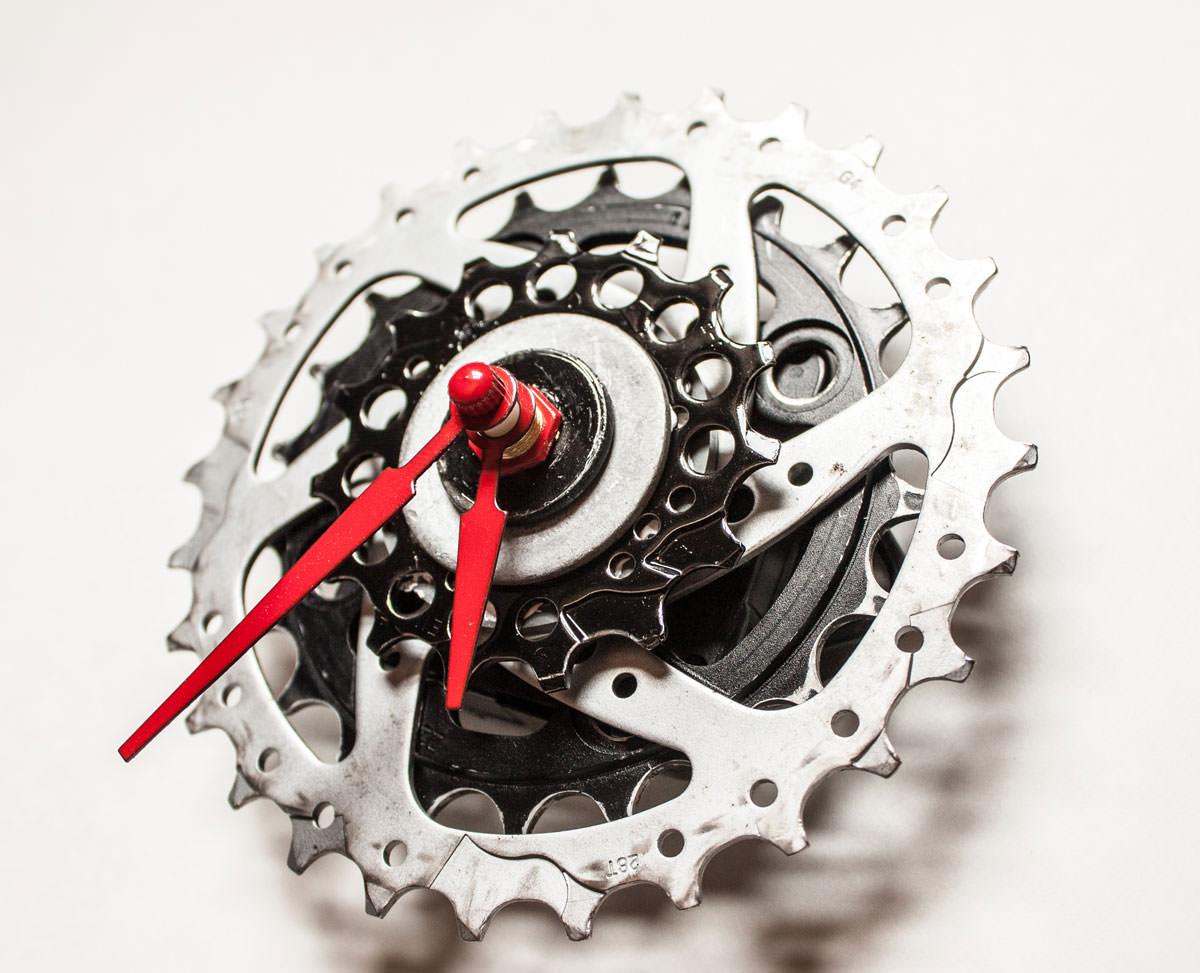 Black and Silver Bike Sprocket Clock bottom