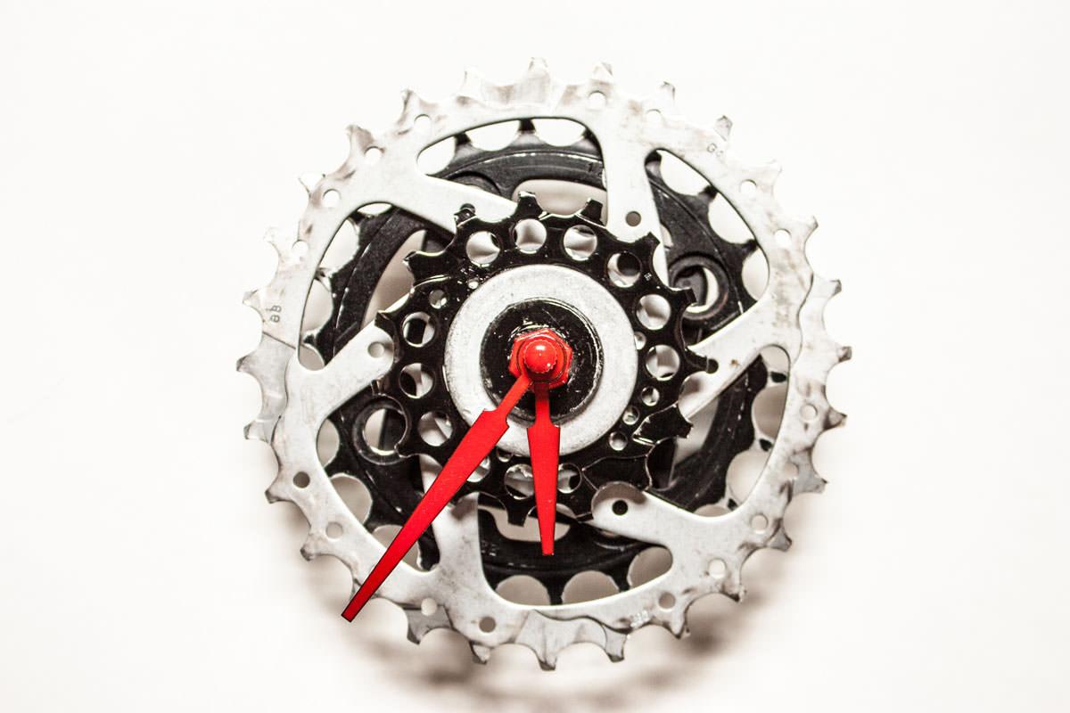Black and Silver Bike Sprocket Clock