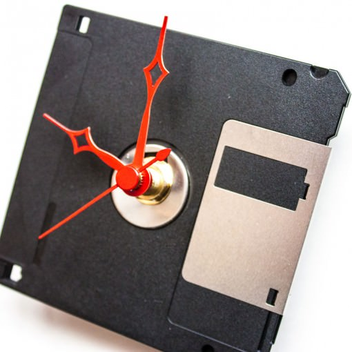 Floppy disk clock with red hands