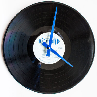 Record Clock with blue hands