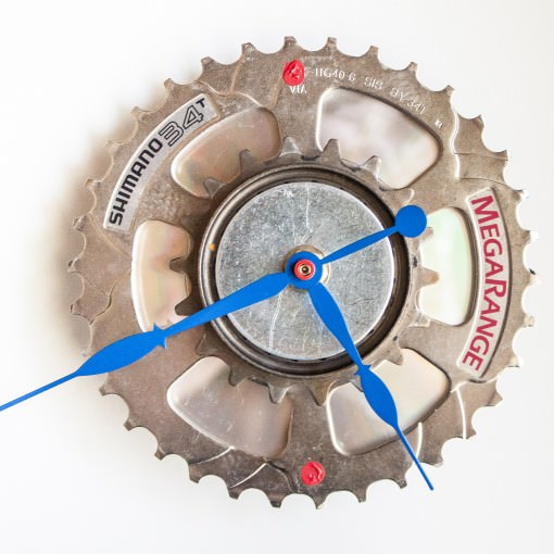 Recycled Shimano Rear Sprocket clock with blue hands