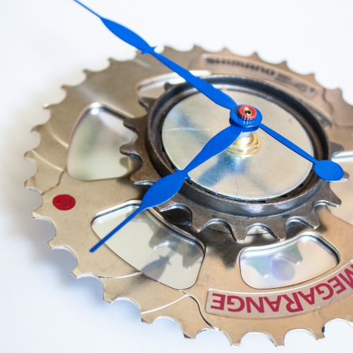 Recycled Shimano Rear Sprocket clock with blue hands left