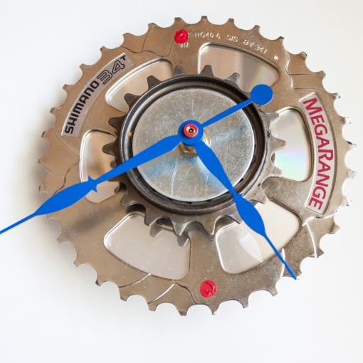 Recycled Shimano Rear Sprocket clock with blue hands below