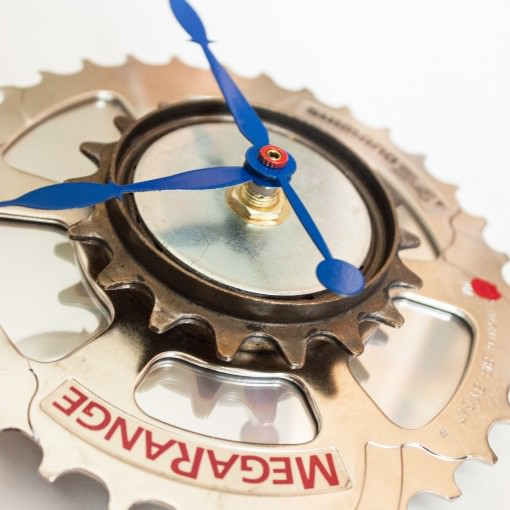 Recycled Shimano Rear Sprocket clock with blue hands right