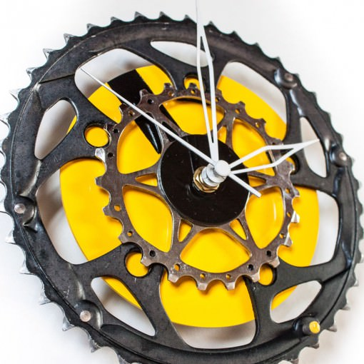 bike sprocket clock with yellow cd background left side