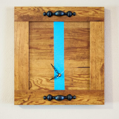 recycled closet panel clock with blue stripe