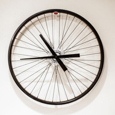 Recycled Black Bike Wheel Clock