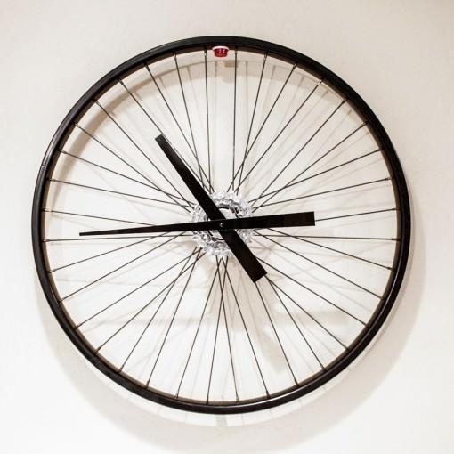 Recycled Black Bike Wheel Clock