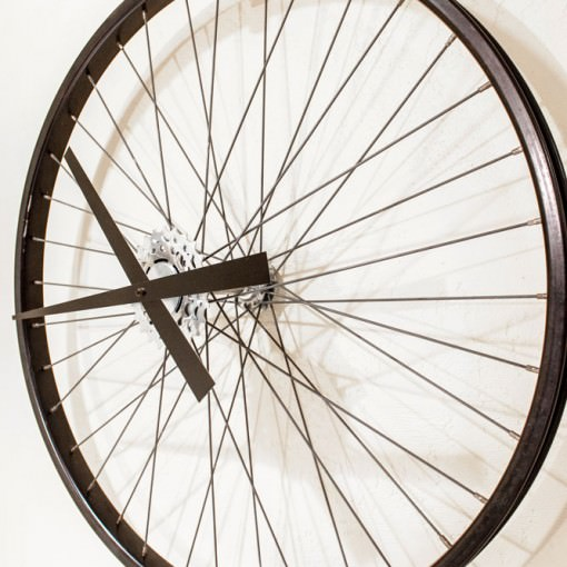 Recycled Black Bike Wheel Clock far right