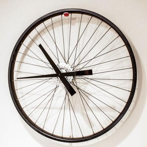 Recycled Black Bike Wheel Clock Right