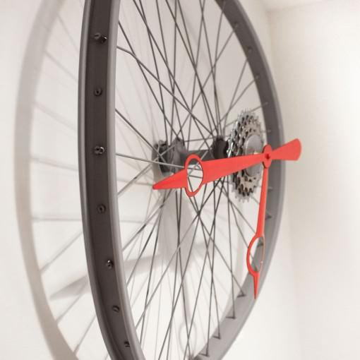 Repurposed Bent Bike Wheel Clock left far