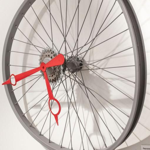 Repurposed Bent Bike Wheel Clock right