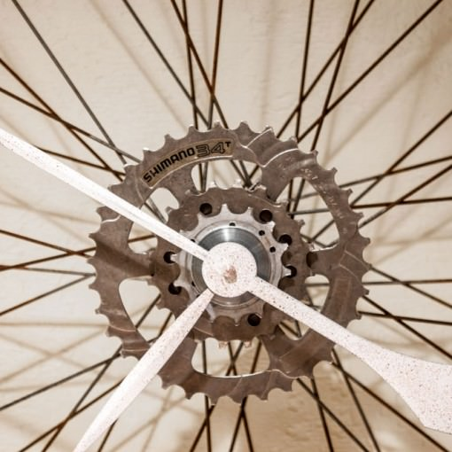 Repurposed Rusty Bike Wheel Clock close