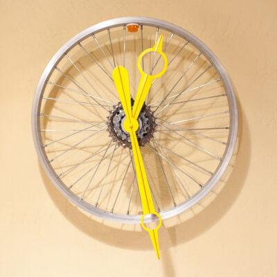 Repurposed Rear Bike Sprocket Clock Black White And Blue