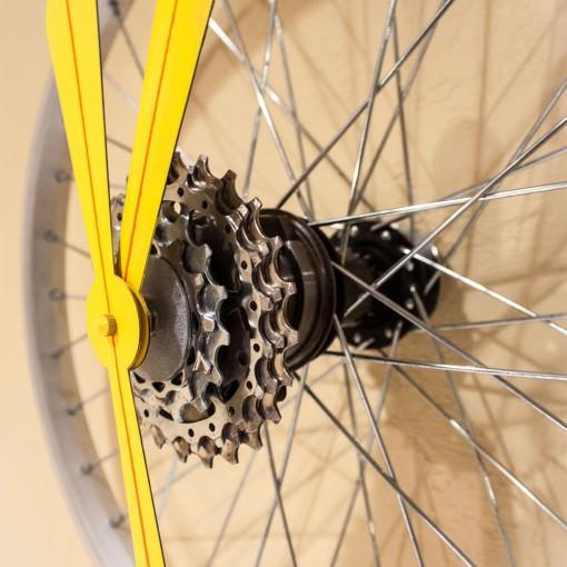 Repurposed Small Bike Wheel Clock closeup