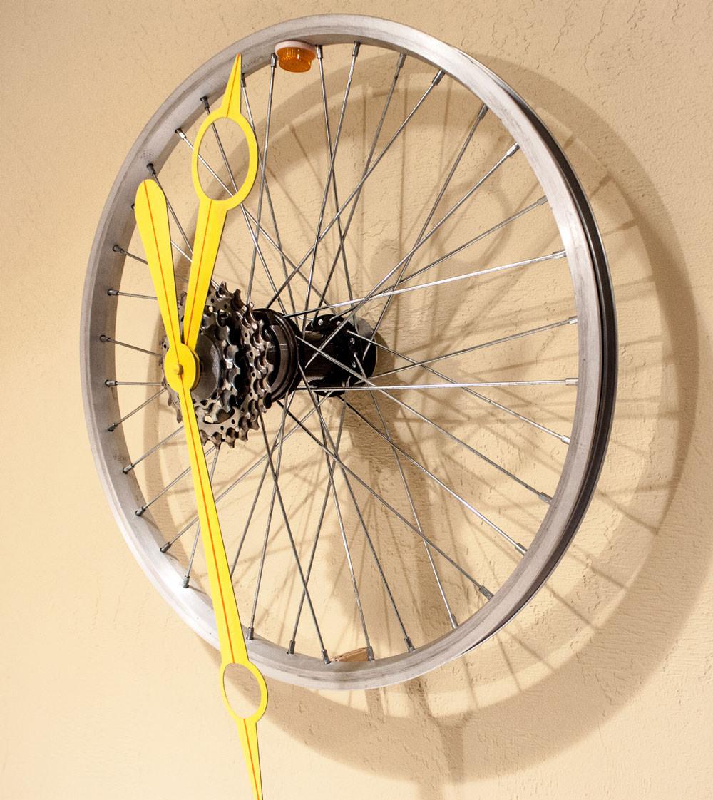 Repurposed Small Bike Wheel Clock right
