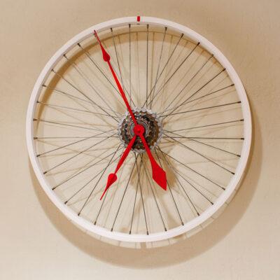 Repurposed White Bike Wheel Clock