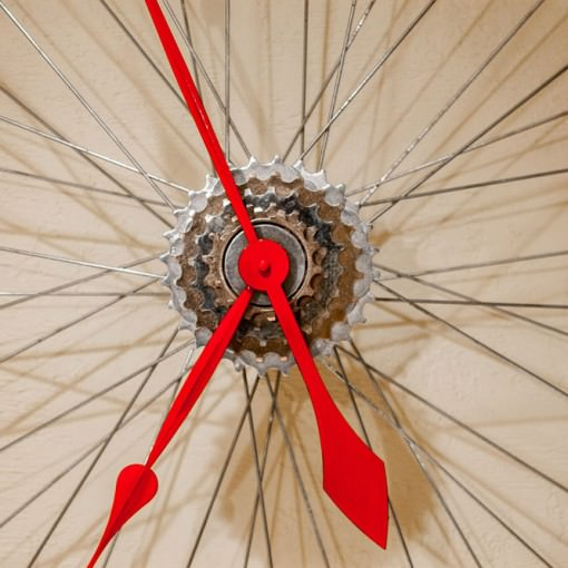 Repurposed White Bike Wheel Clock close up