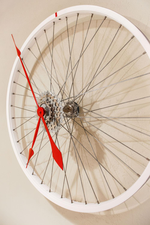Repurposed White Bike Wheel Clock Kristin Boer
