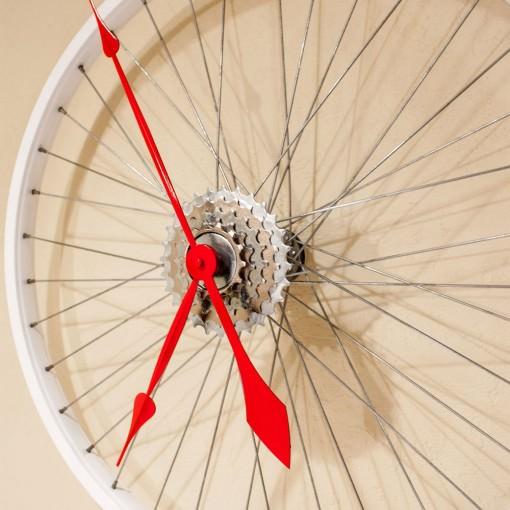 Repurposed White Bike Wheel Clock right half