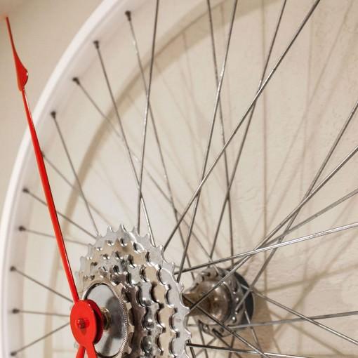 Repurposed White Bike Wheel Clock closeup right