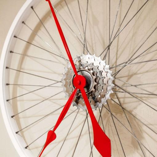 Repurposed White Bike Wheel Clock closeup right mid