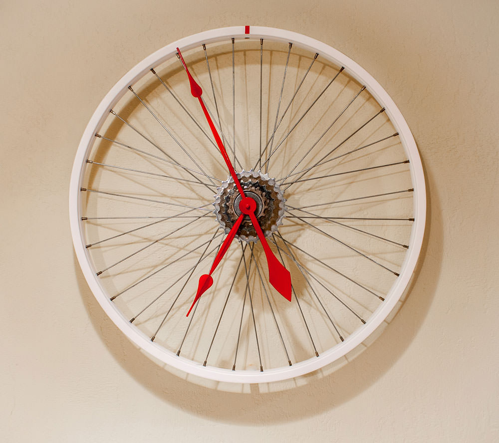 Repurposed White Bike Wheel Clock Kristin Boer