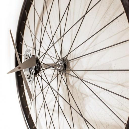 Recycled Black Bike Wheel Clock side view