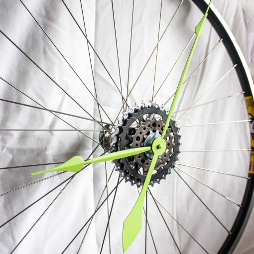 repurposed-bike-wheel-clock-neon-green-angle