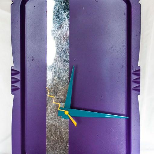 vintage-metal-tray-clock-silver-purple-teal