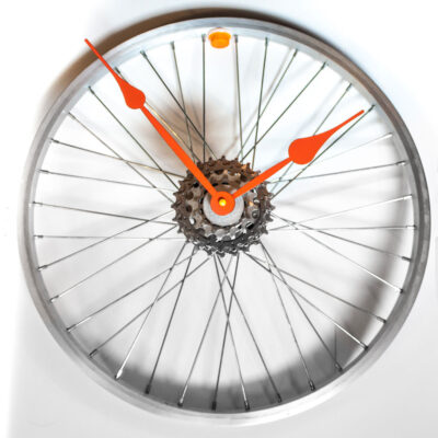 Repurposed-Bike-Wheel-Clock-Orange-and-Yellow-main