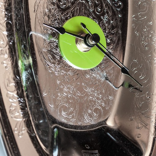 Repurposed-Ornate-Serving-Tray-Clock-Green-Black-center-zoom