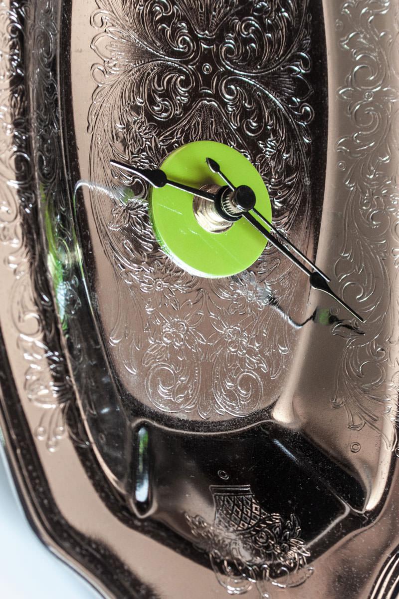 Repurposed-Ornate-Serving-Tray-Clock-Green-Black-center-zoom
