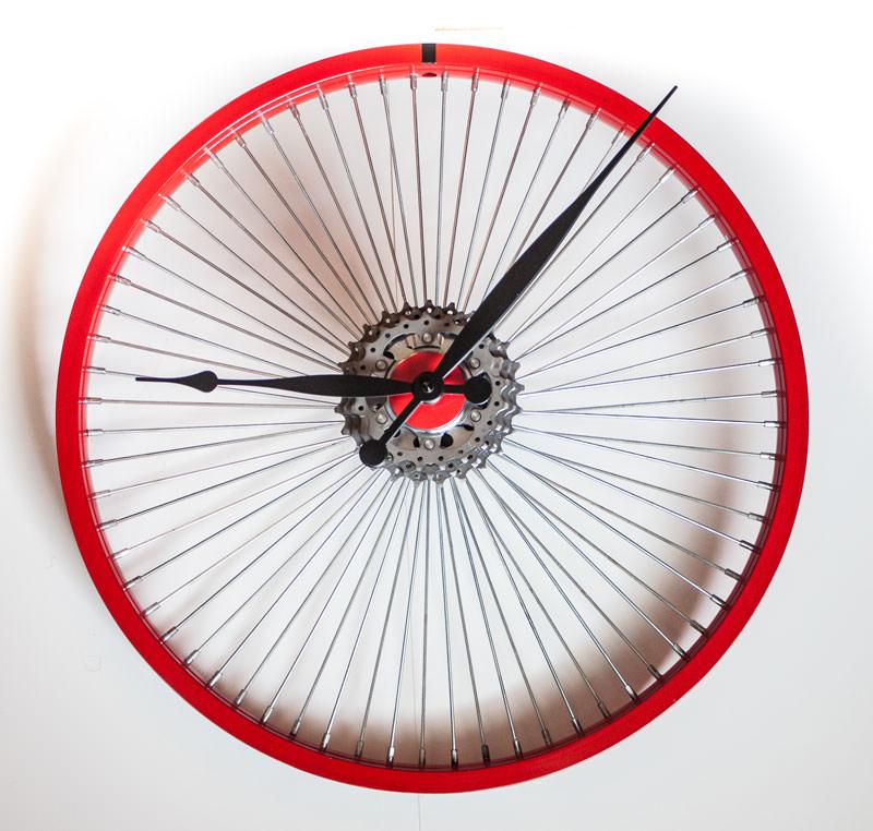 Repurposed Bike Wheel Clock Red Black
